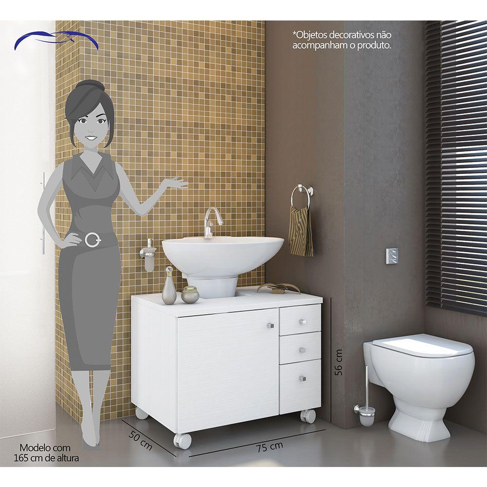 Armário Gabinete de Banheiro 1 Porta 3 Gavetas com Rodízios Branco - Albatroz
