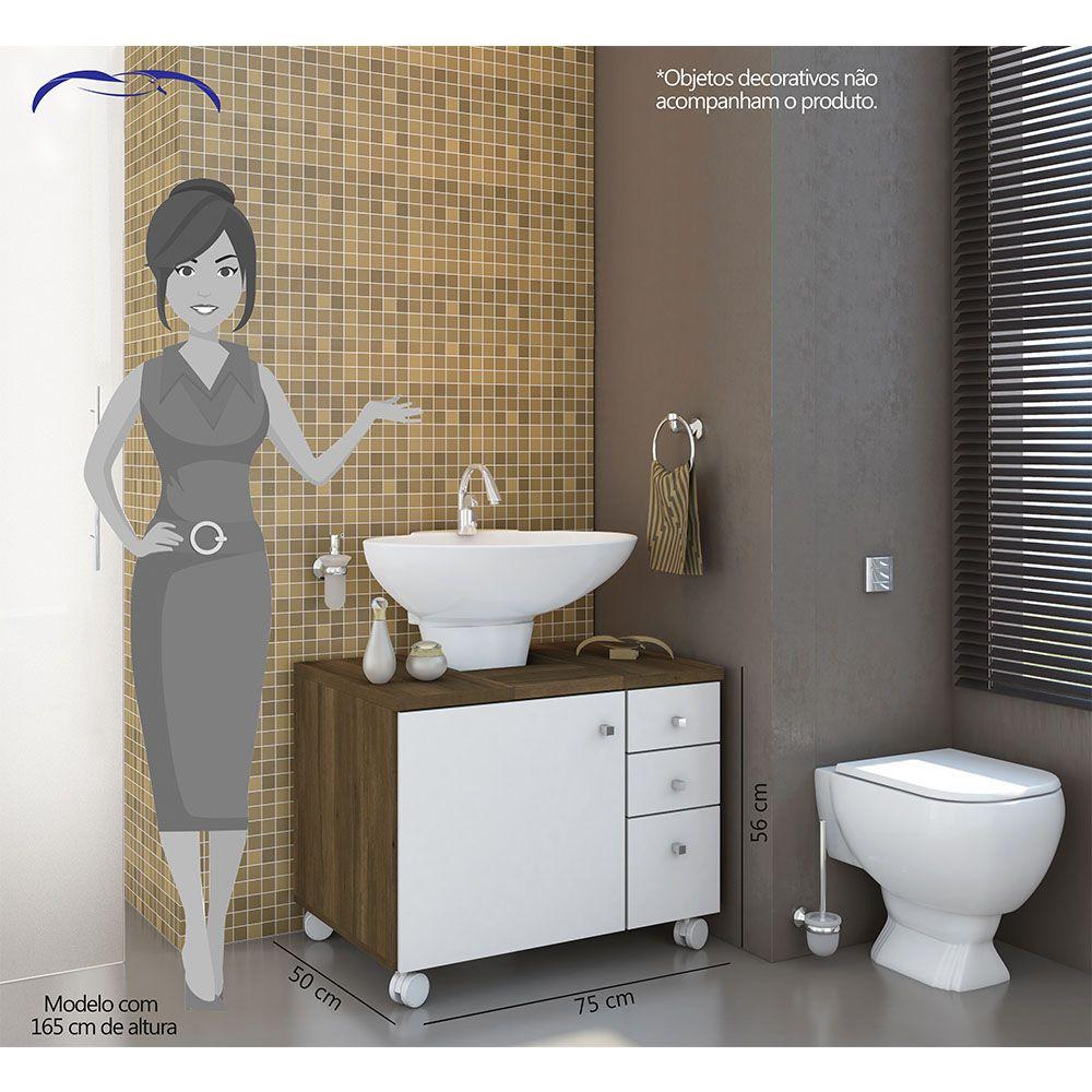 Armário Gabinete de Banheiro 1 Porta 3 Gavetas com Rodízios Cedro/Branco - Albatroz