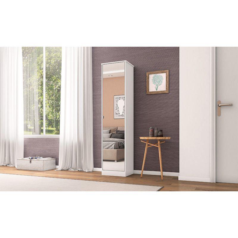 Armário Multiuso com Espelho 1 Porta Reflex II Branco - Demóbile