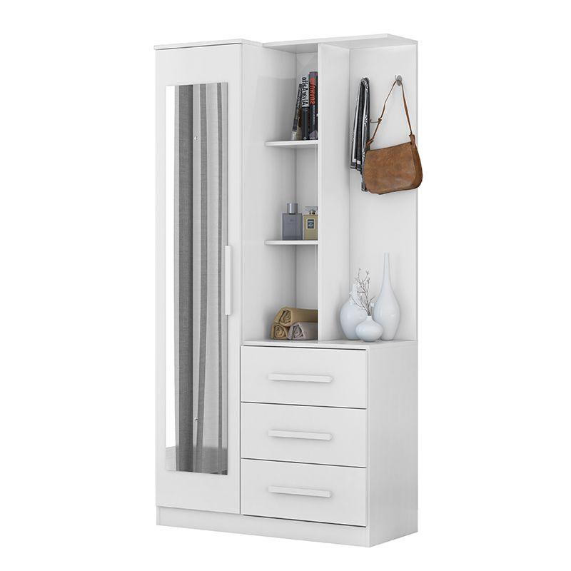 Armário Multiuso Cômoda com Espelho 1 Porta e 3 Gavetas Brisa Branco - Demóbile