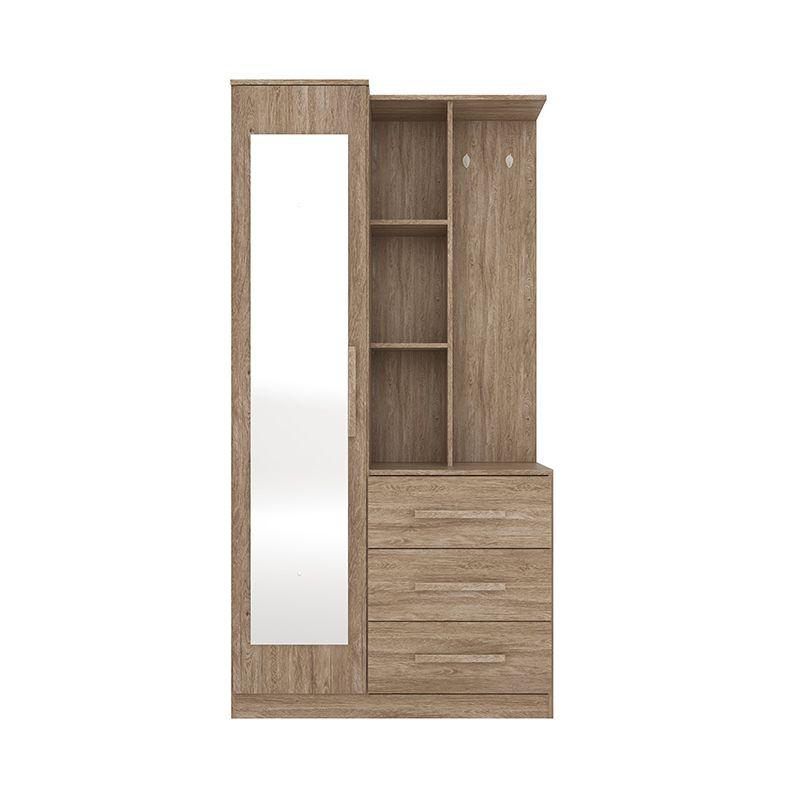 Armário Multiuso Cômoda com Espelho 1 Porta e 3 Gavetas Brisa Nogal - Demóbile