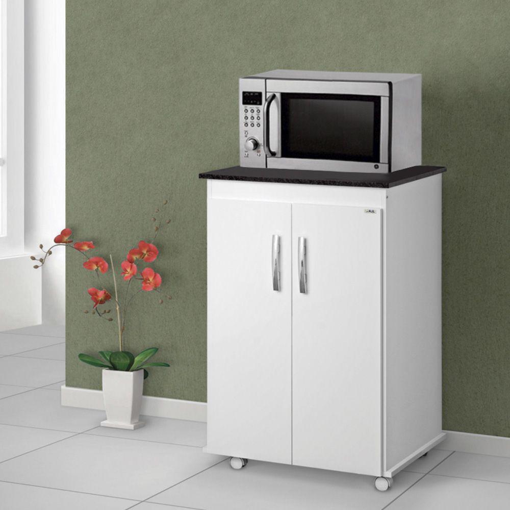 Balcão de Cozinha Vitória com Rodízios 2 Portas Branco/Preto - AJL