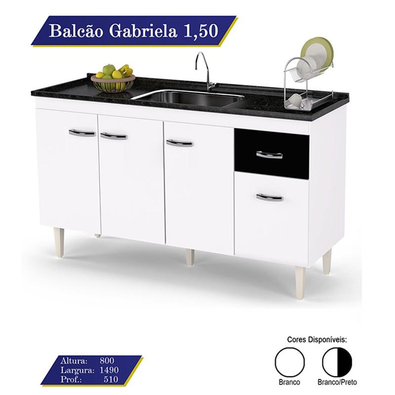 Balcão Para Pia Gabriela 150cm 4 Portas e 1 Gaveta Flex - AJL