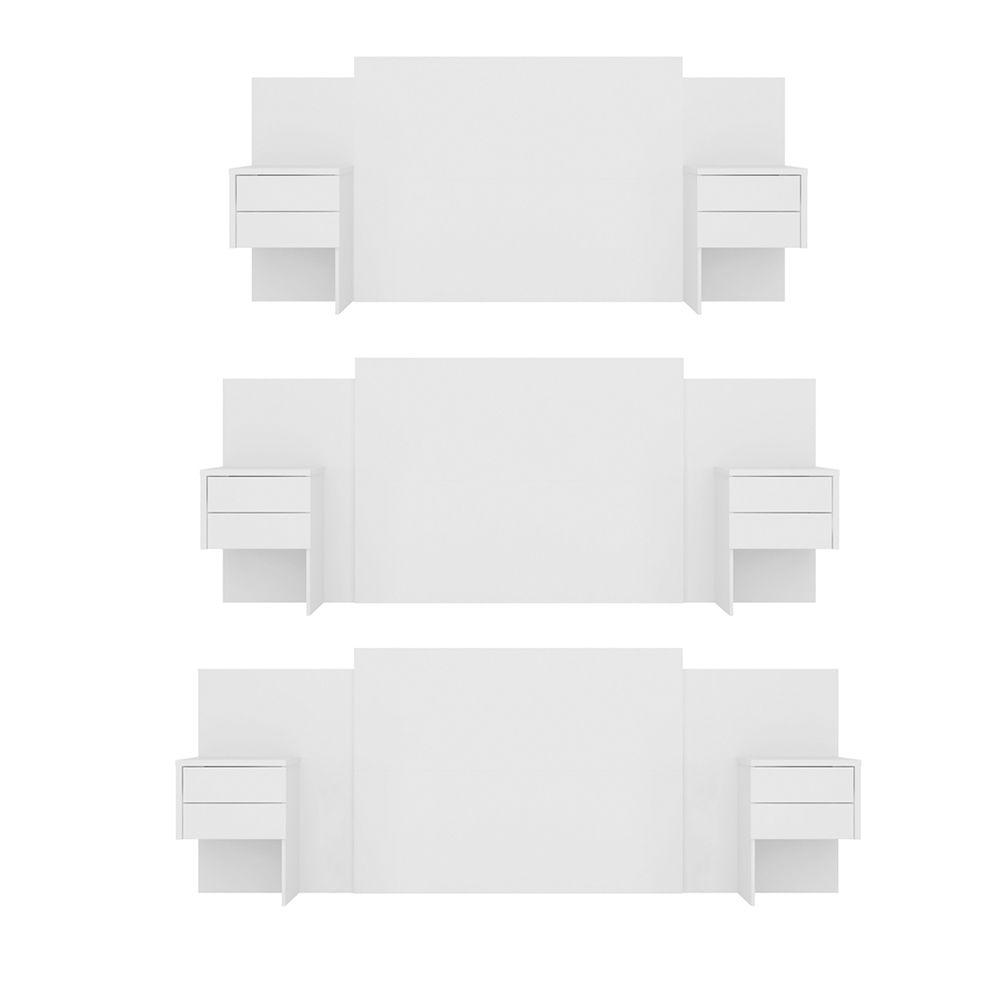Cabeceira Extensível Cama Casal Recife com Criado mudo Branco - Albatroz