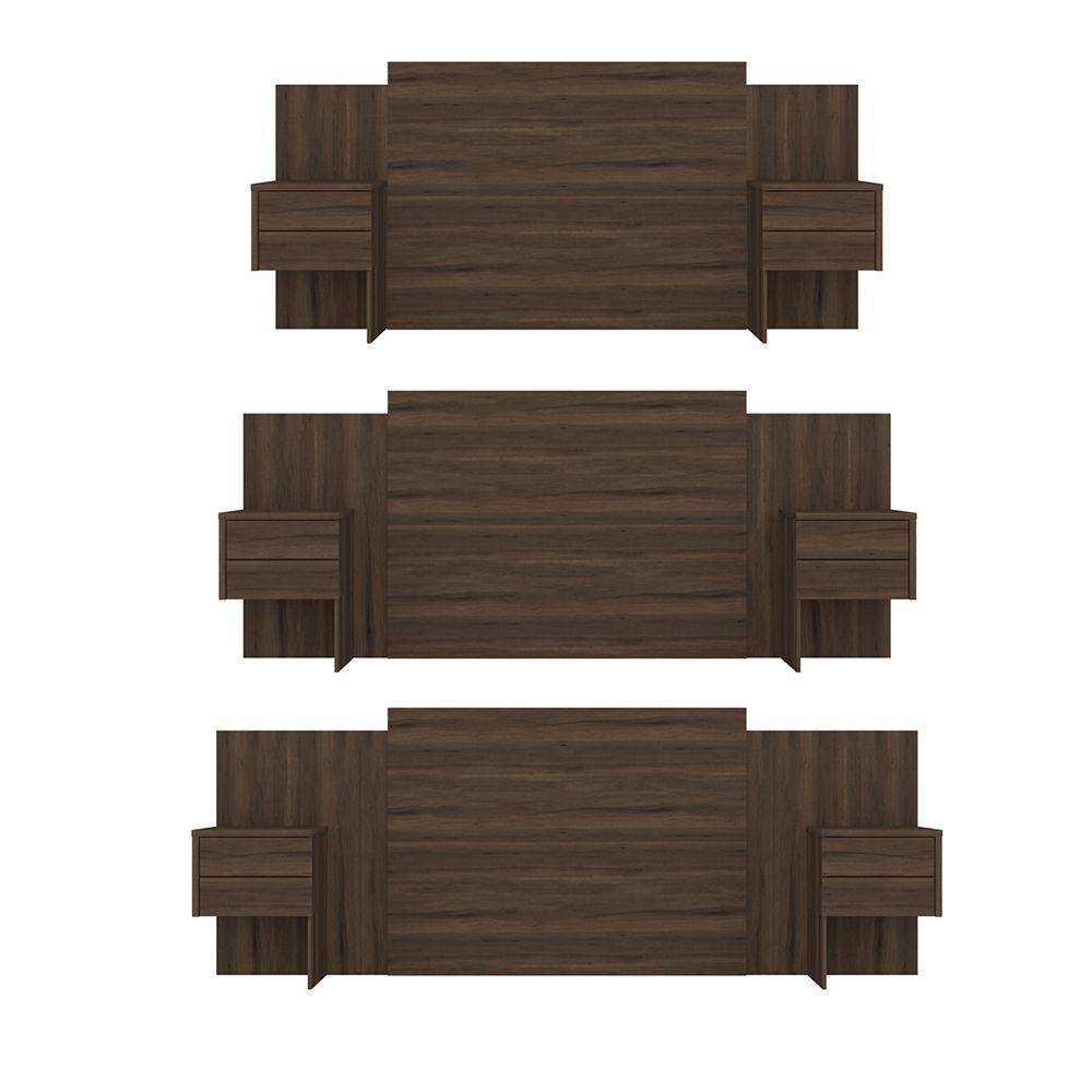 Cabeceira Extensível Cama Casal Recife com Criado mudo Cedro - Albatroz