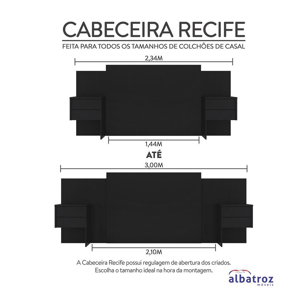 Cabeceira Extensível Cama Casal Recife com Criado mudo Preto - Albatroz