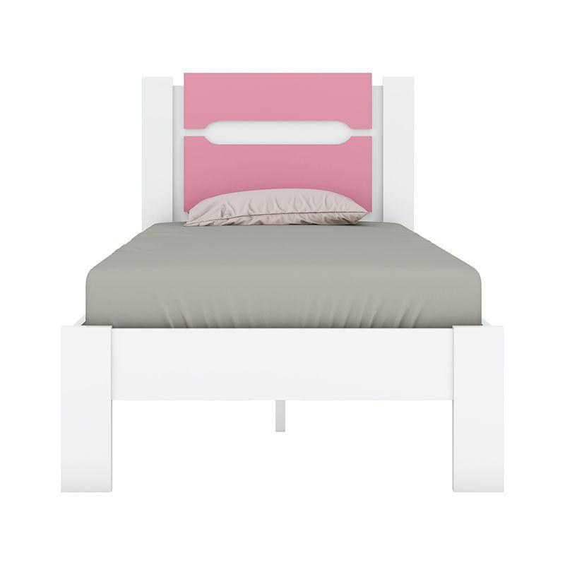 Cama de Solteiro 88cm Riviera Branco/Rosa - Demóbile