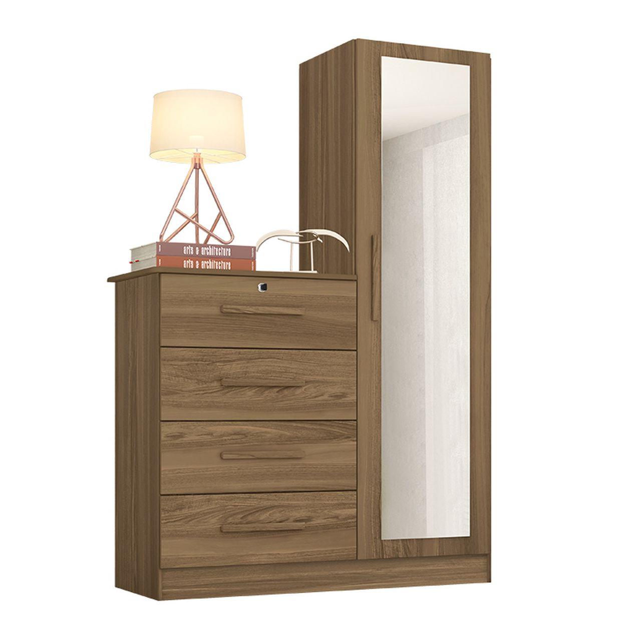 Cômoda Belize Plus com Espelho 4 Gavetas 1 Porta Canela - Albatroz