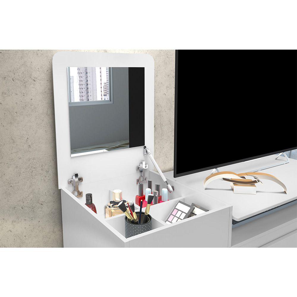 Cômoda Munique com Espelho 4 Gavetas 1 Porta Branco Flex - Albatroz