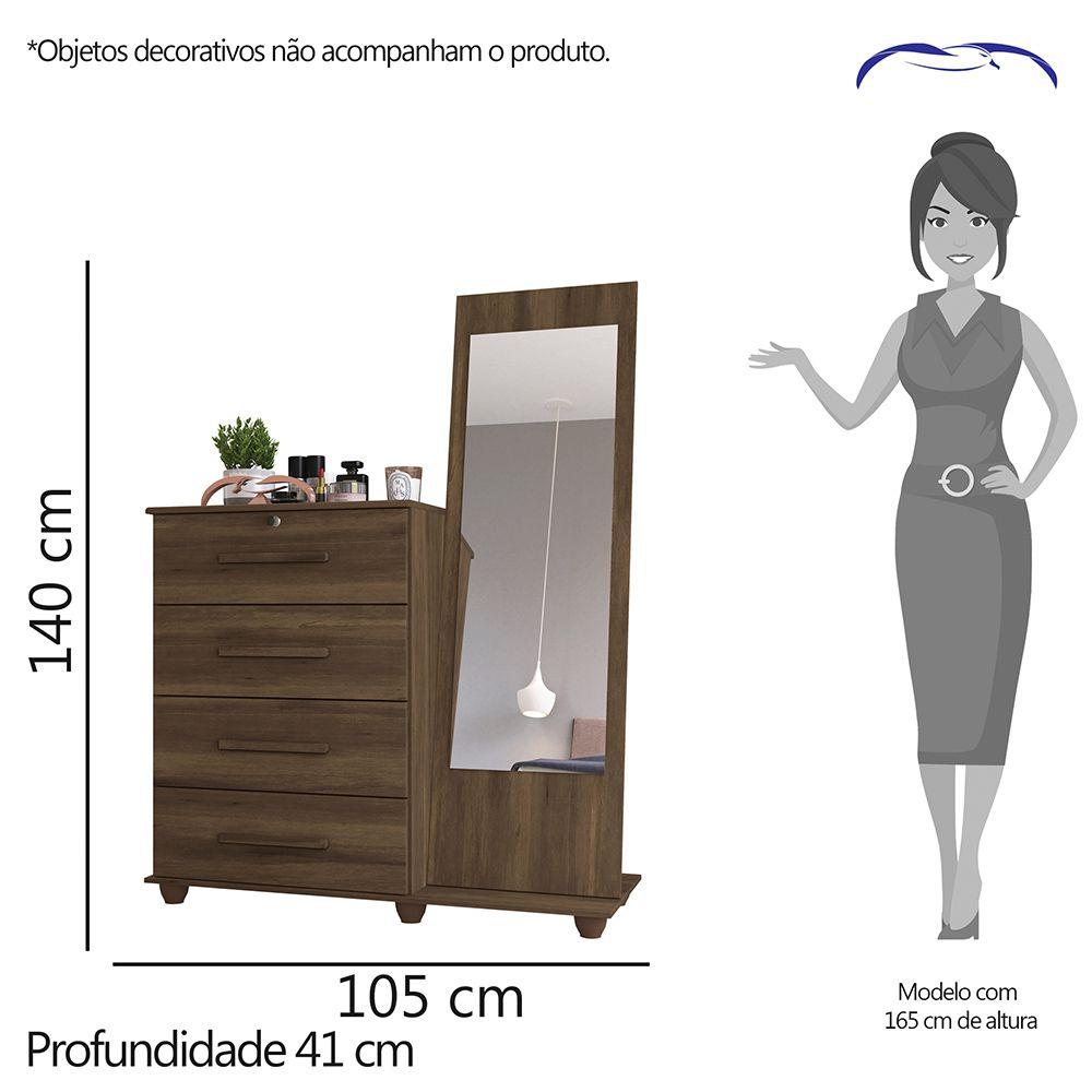Cômoda Trento 4 Gavetas com Espelho Cedro - Albatroz