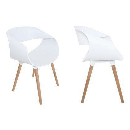 Kit 4 Cadeiras Petra com Pés Palito e Encosto Curvo Branca - Facthus