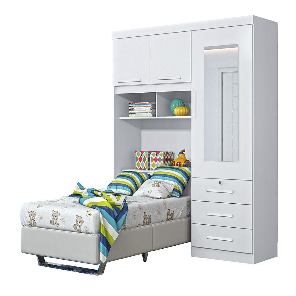 Dormitório Duster Solteiro 3 Portas 3 Gavetas Branco Flex - Albatroz