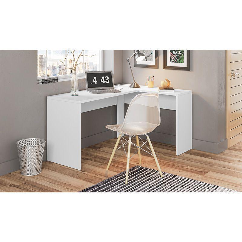 Escrivaninha de Canto Mesa de Computador Office Presence Branco - Demóbile