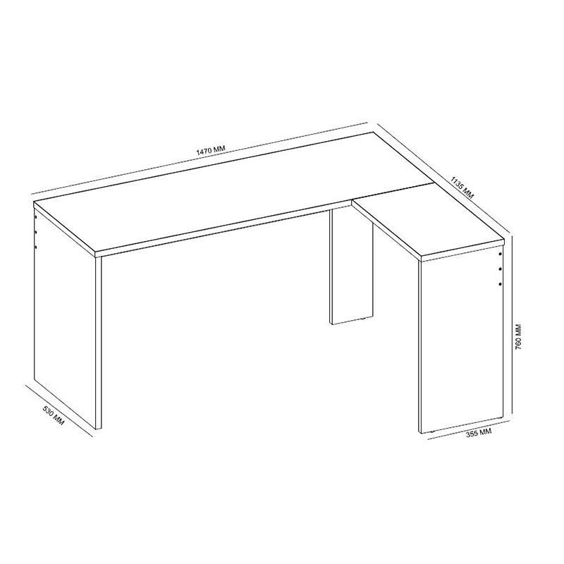 Escrivaninha de Canto Mesa de Computador Office Presence Nogal - Demóbile