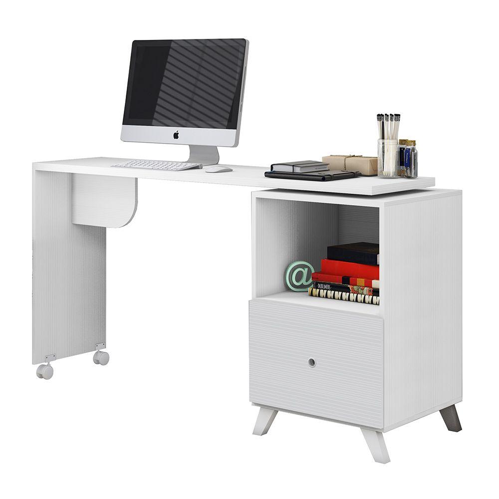 Escrivaninha Mesa Giratória com Rodízios Carinho Branco - Albatroz