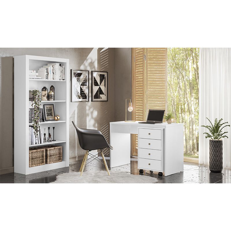 Gaveteiro 4 Gavetas com Rodízios Office Presence Branco - Demóbile