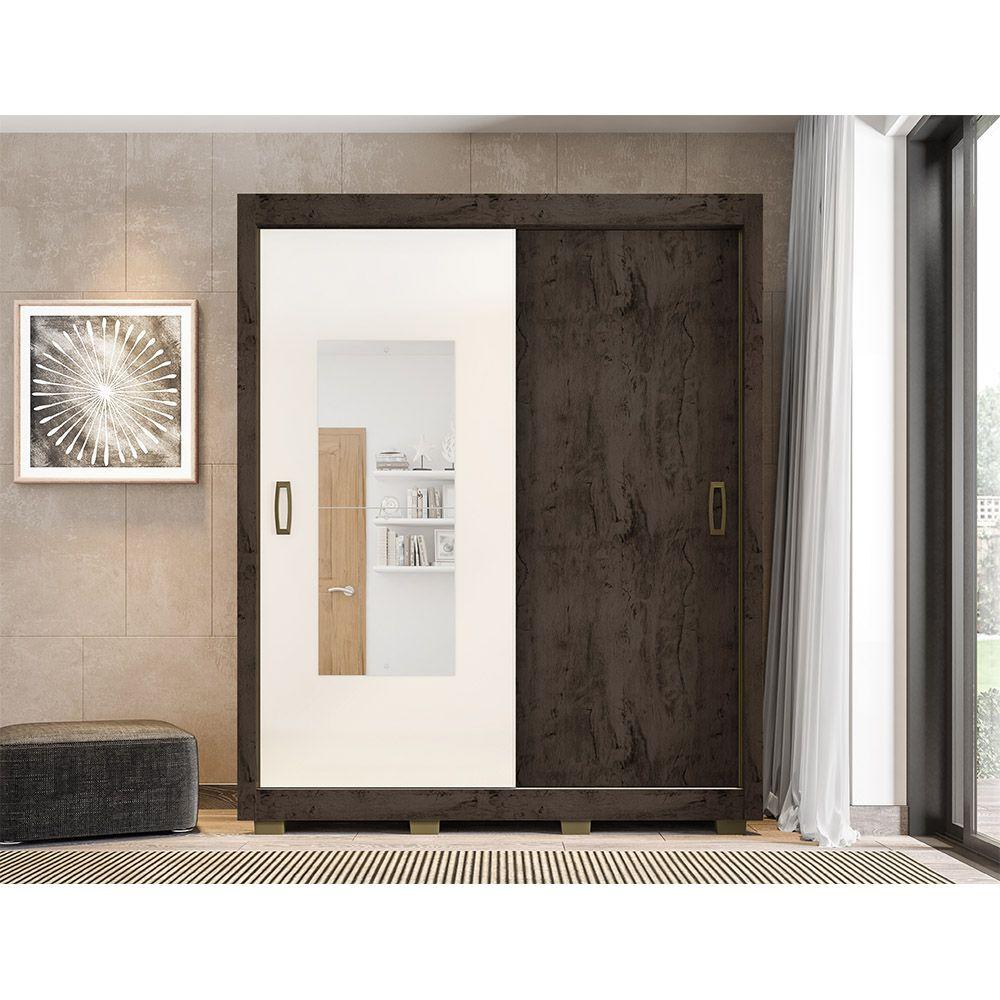 Guarda Roupa 2023 2 Portas Deslizantes com Espelho 3 Gavetas Imbuia/Baunilha - Araplac