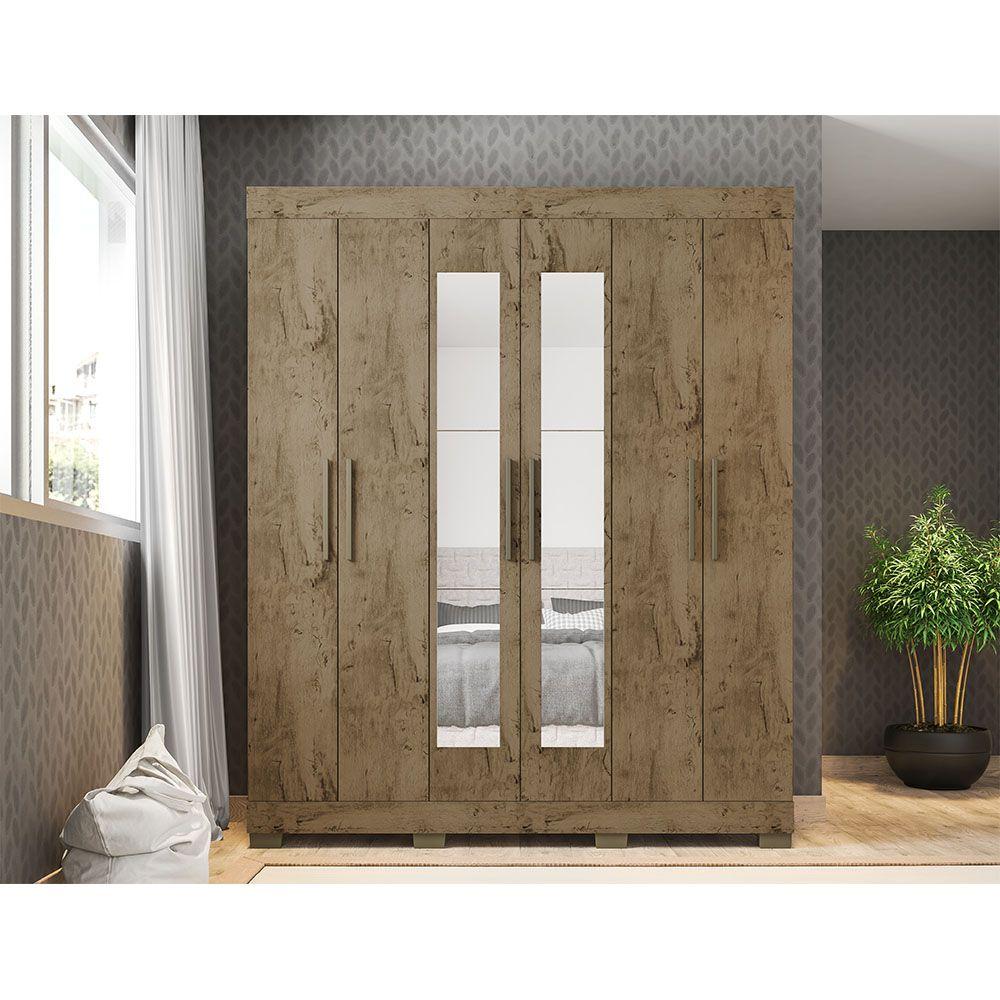 Guarda Roupa 2062 6 Portas com Espelho 2 Gavetas cor Demolição - Araplac