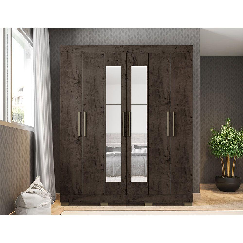 Guarda Roupa 2062 6 Portas com Espelho 2 Gavetas Imbuia - Araplac