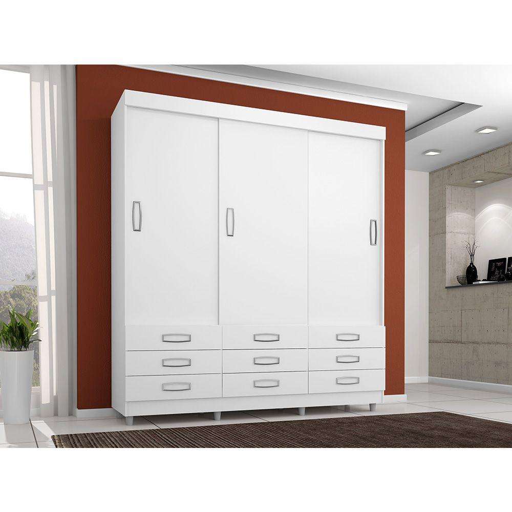 Guarda Roupa 3900 3 Portas Deslizantes 9 Gavetas Branco Flex - Araplac