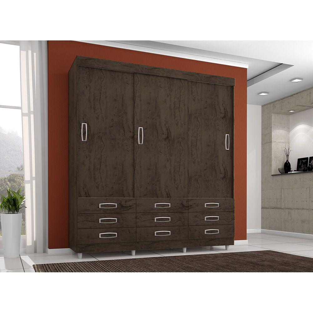 Guarda Roupa 3900 3 Portas Deslizantes 9 Gavetas Imbuia Flex - Araplac