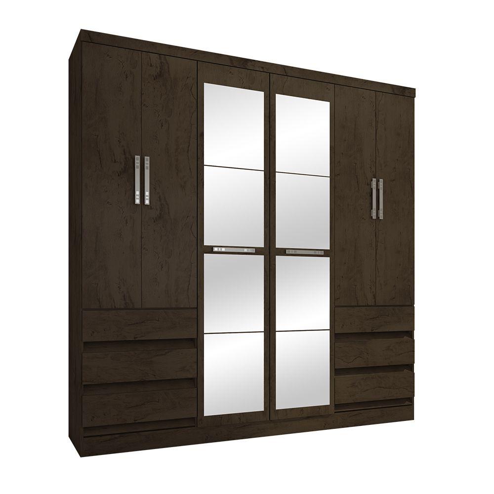 Guarda Roupa 4177 6 Portas com Espelho 6 Gavetas Imbuia - Araplac