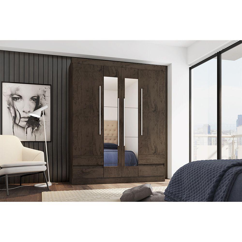 Guarda Roupa 4400 4 Portas com Espelho 4 Gavetas Imbuia - Araplac