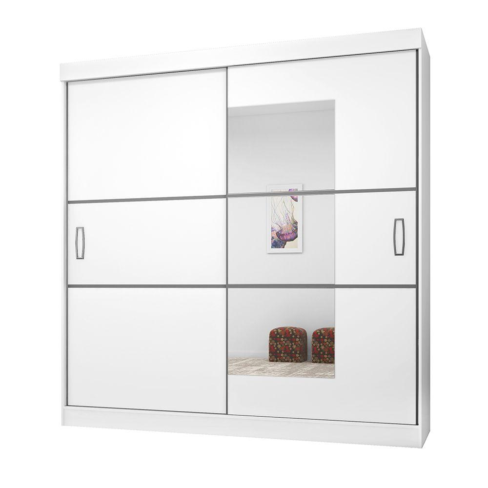 Guarda Roupa Casal 2040 2 Portas Deslizantes com Espelho 4 Gavetas Branco/Preto - Araplac