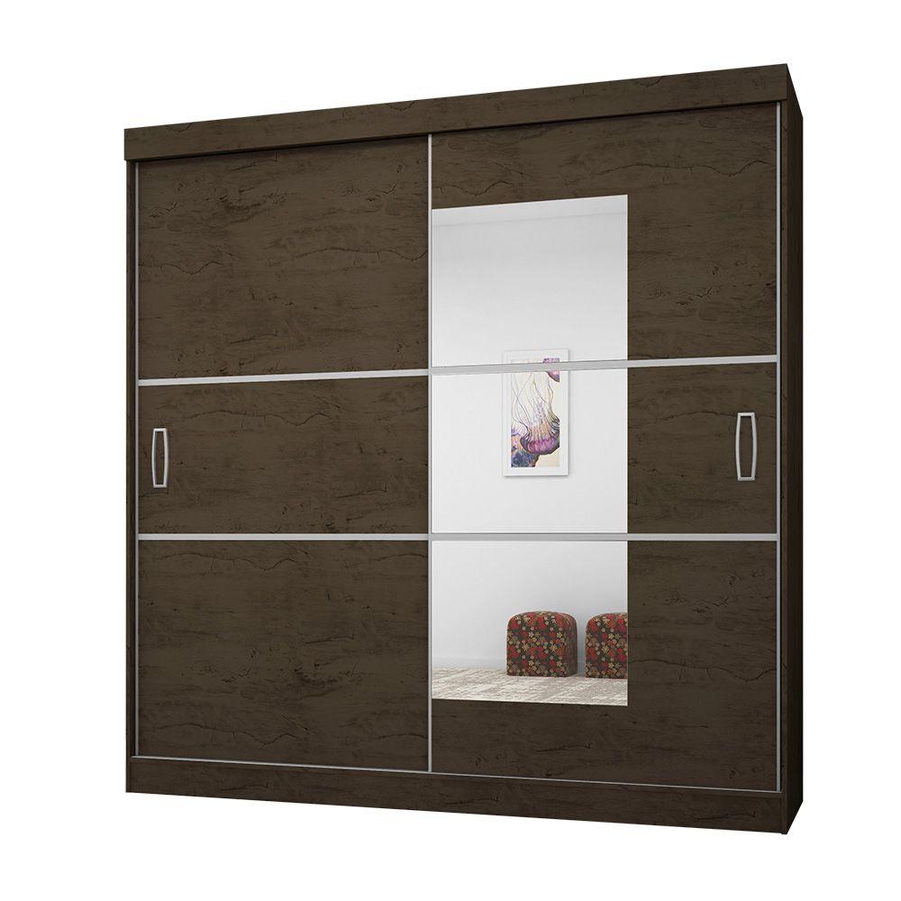Guarda Roupa Casal 2040 2 Portas Deslizantes com Espelho 4 Gavetas Imbuia/Avelã - Araplac