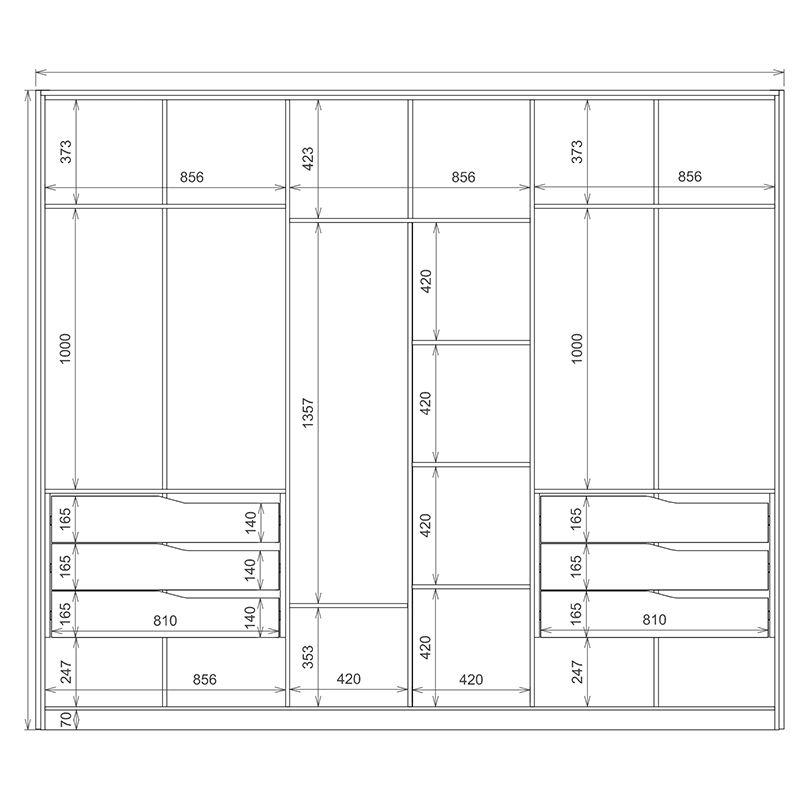 Guarda Roupa Casal Atrice 6 Portas 6 Gavetas 3 Espelhos Âmbar/Off White - Demartêz