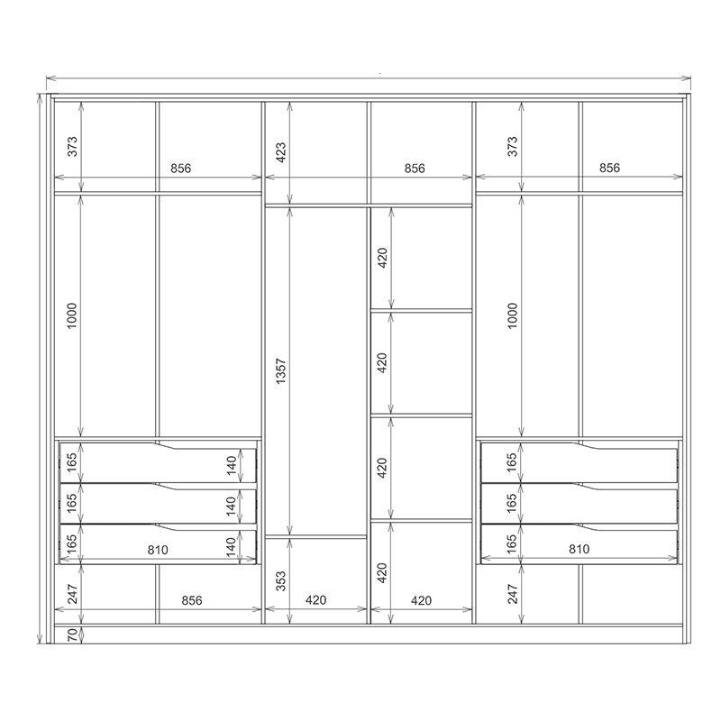 Guarda Roupa Casal Atrice 6 Portas 6 Gavetas 3 Espelhos com Pés Amêndola/Grafito - Demartêz