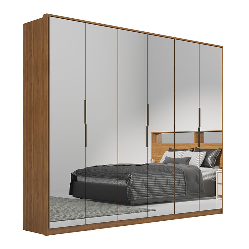 Guarda Roupa Casal Atrice 6 Portas 6 Gavetas 6 Espelhos Amêndola - Demartêz