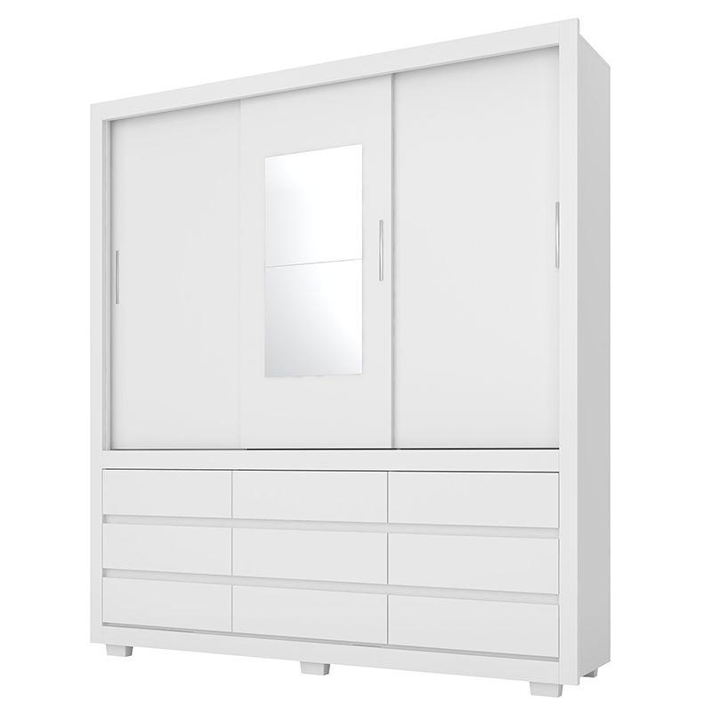 Guarda Roupa Casal com Espelho Detroit 3 Portas Deslizantes Branco - Demóbile