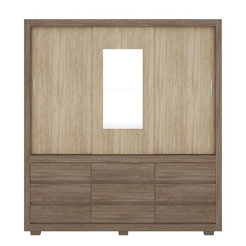Guarda Roupa Casal com Espelho Detroit 3 Portas Deslizantes Nogal/Vanilla - Demóbile