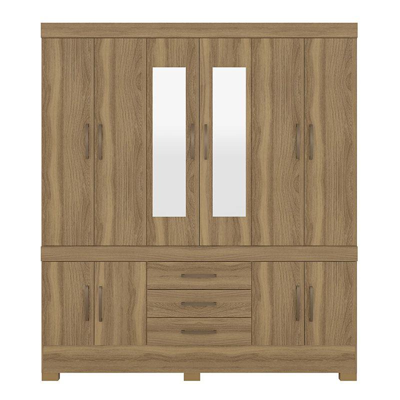 Guarda Roupa Casal com Espelho New Murano 10 Portas 3 Gavetas Amêndola - Demóbile