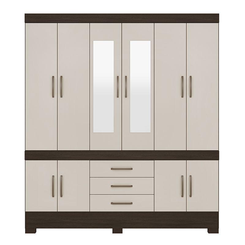 Guarda Roupa Casal com Espelho New Murano 10 Portas 3 Gavetas Ébano/Off White - Demóbile