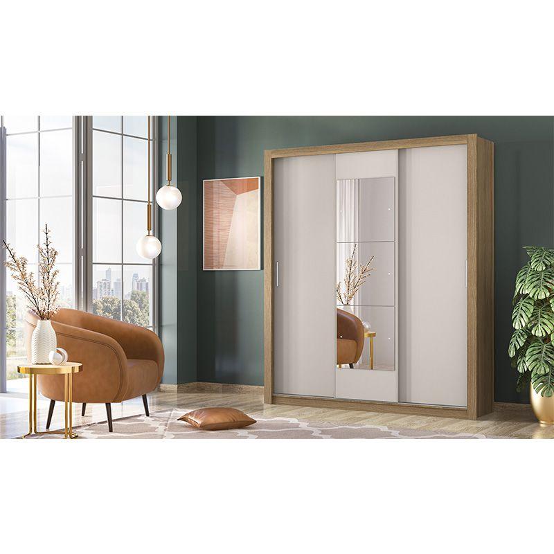 Guarda Roupa Casal com Espelho Vero 3 Portas Deslizantes Amêndola/Off White - Demóbile
