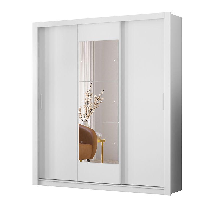 Guarda Roupa Casal com Espelho Vero 3 Portas Deslizantes Branco - Demóbile
