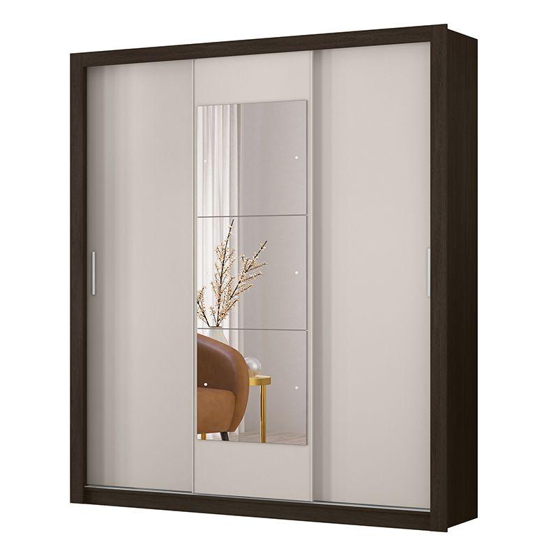Guarda Roupa Casal com Espelho Vero 3 Portas Deslizantes Ébano/Off White - Demóbile