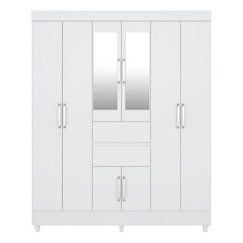 Guarda Roupa Casal com Pés e com Espelho Munique 8 Portas 2 Gavetas Branco - Demóbile