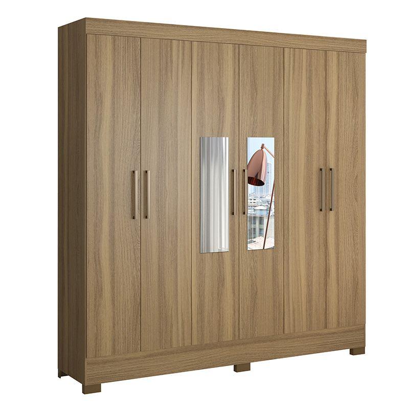 Guarda Roupa Casal com Pés e com Espelho Prático 6 Portas 3 Gavetas Amêndola - Demóbile