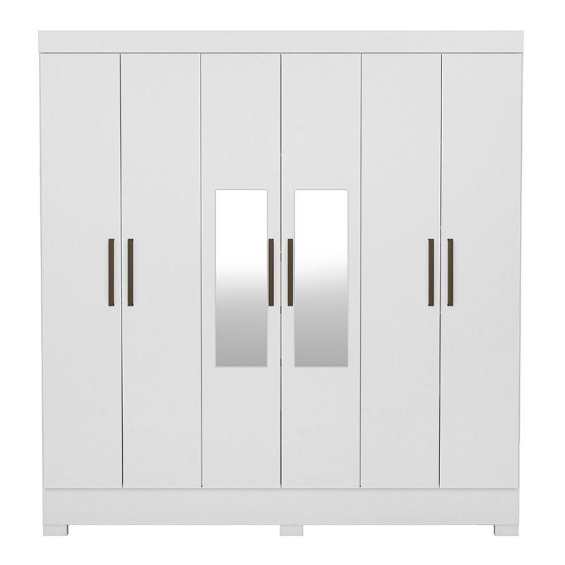 Guarda Roupa Casal com Pés e com Espelho Prático 6 Portas 3 Gavetas Branco - Demóbile