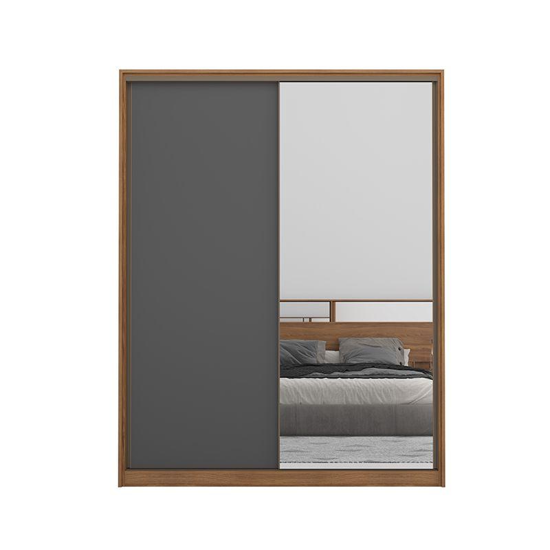 Guarda Roupa Casal Épico 2 Portas Deslizantes Com Espelho Amêndola/Grafito - Demartêz