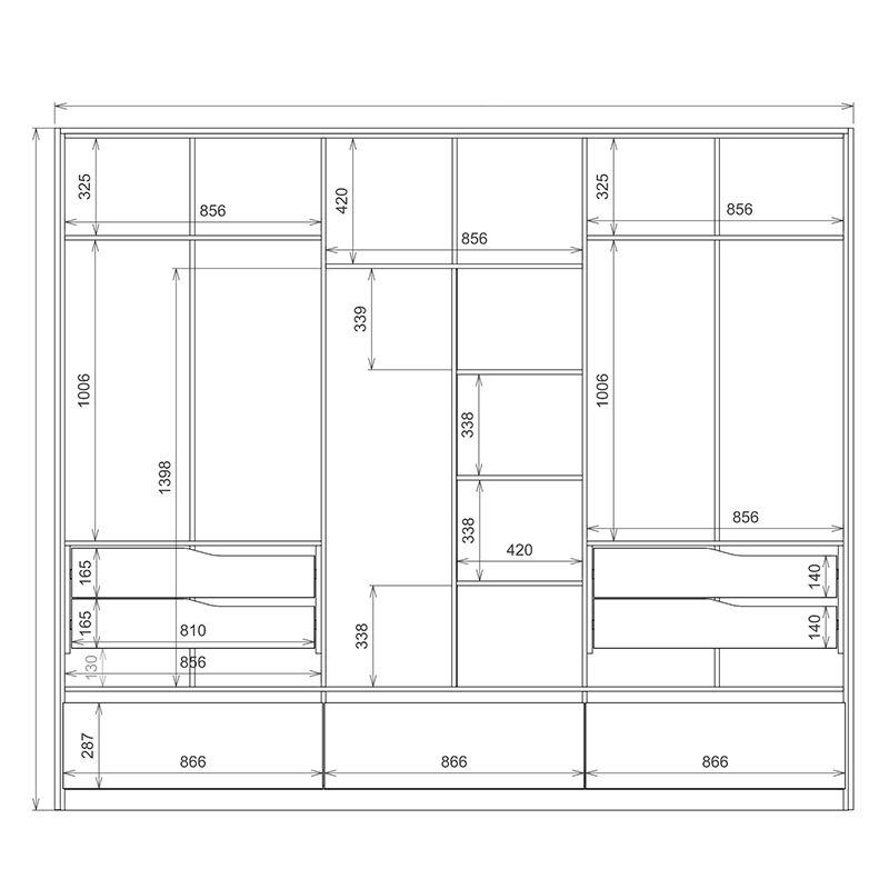 Guarda Roupa Casal Moara 6 Portas 7 Gavetas 2 Espelhos Amêndola/Grafito - Demartêz