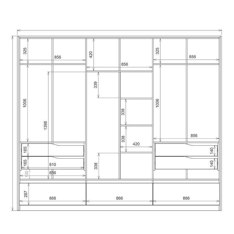 Guarda Roupa Casal Moara 6 Portas 7 Gavetas 2 Espelhos com Pés Amêndola/Off White - Demartêz