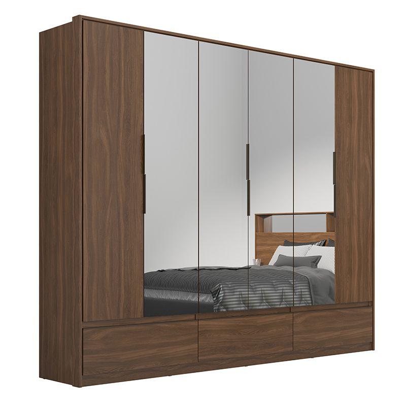 Guarda Roupa Casal Moara 6 Portas 7 Gavetas 4 Espelhos Âmbar - Demartêz