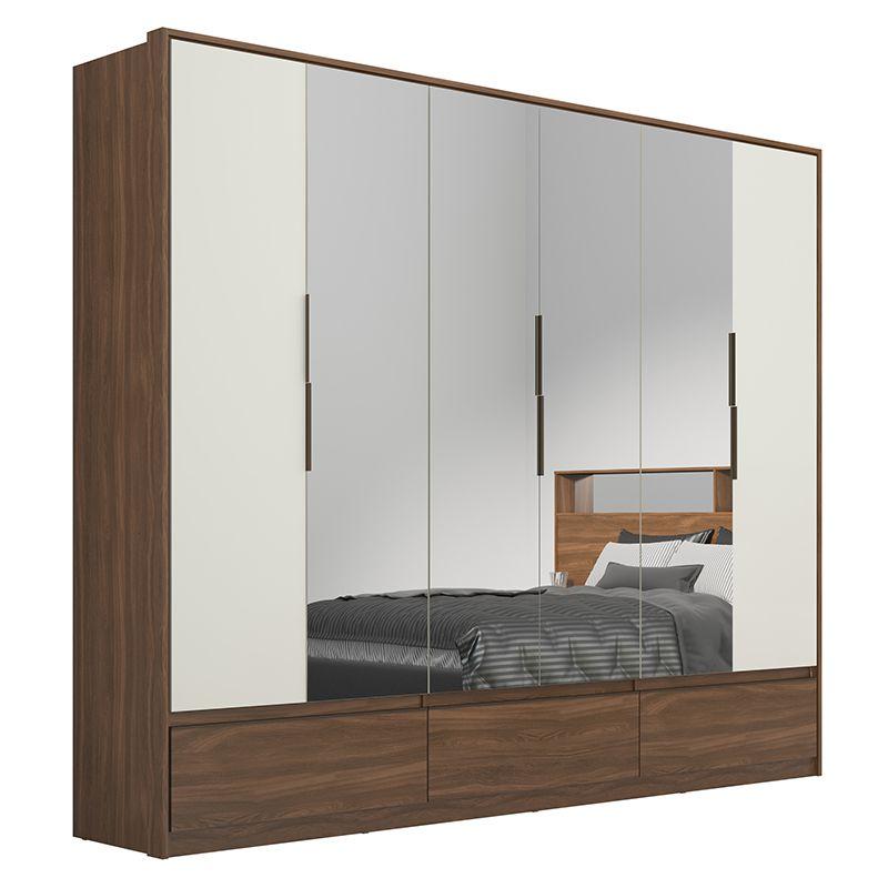 Guarda Roupa Casal Moara 6 Portas 7 Gavetas 4 Espelhos Âmbar/Off White - Demartêz