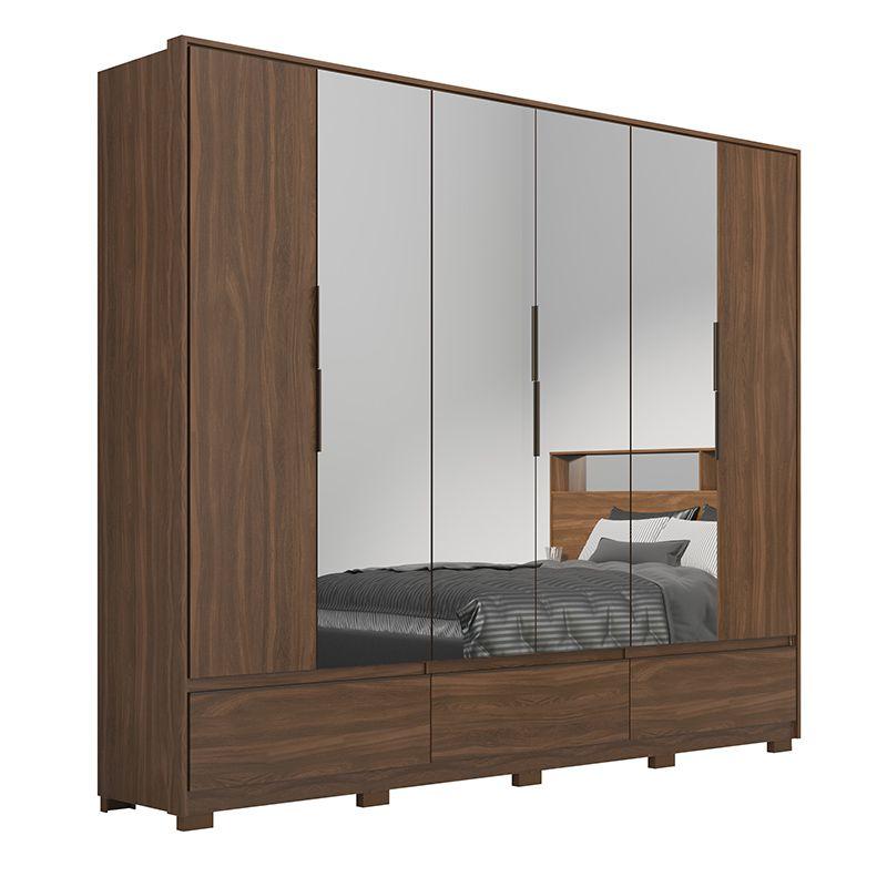 Guarda Roupa Casal Moara 6 Portas 7 Gavetas 4 Espelhos com Pés Âmbar - Demartêz