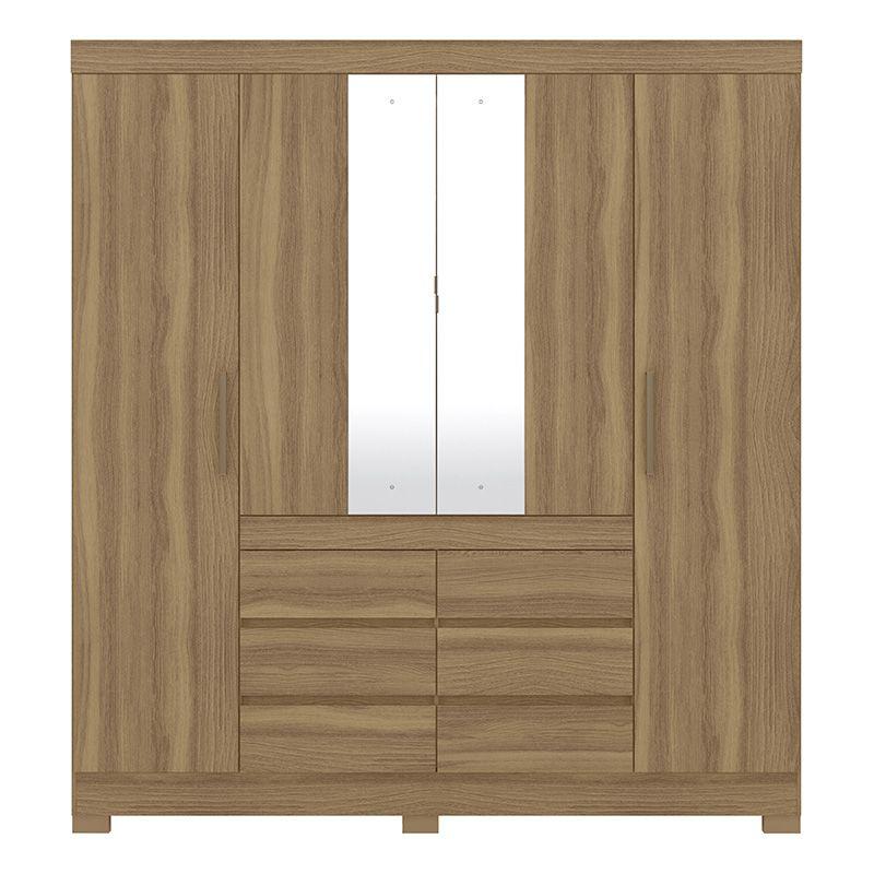 Guarda Roupa Com Espelho com Pés Cádis 4 Portas Amêndola - Demóbile