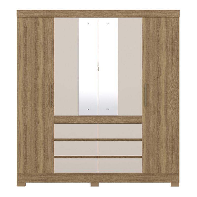 Guarda Roupa Com Espelho com Pés Cádis 4 Portas Amêndola/Off White - Demóbile